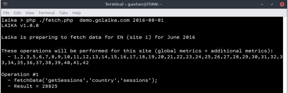 Screenshot showing Laika's command-line script fetching data from Google Analytics